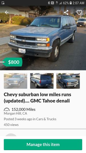1996 chevy suburban low miles runs for Sale in Morgan Hill, CA