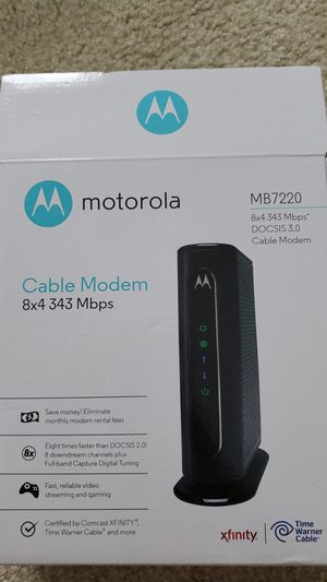 MOTOROLA 8x4 Cable Modem, Model MB7220, 343 Mbps DOCSIS 3.0, Certified by Comcast XFINITY for Sale in Pembroke Pines, FL