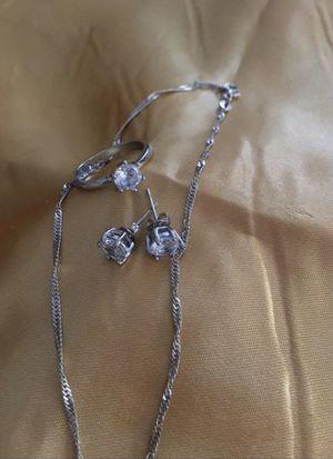 Set of 3 , 925 Sterling silver zirconia white diamond jewelry , $25 for Sale in Burbank, CA