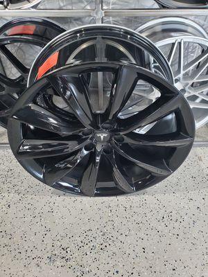 22x9 and 22x10 Gloss black tesla turbine wheels fits model x and model s rim wheel tire shop for Sale in Tempe, AZ