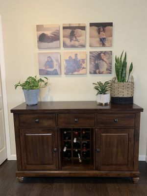 Solid wood buffet and wine rack for Sale in Puyallup, WA