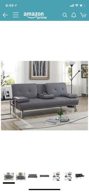 Like new grey futon faux leather sofa for Sale in Pleasanton, CA