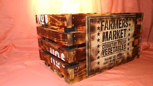 Rustic crate, hand painted, burnt finish. for Sale in Atchison, KS