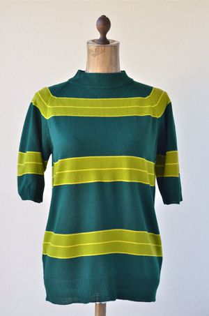 1970's Vintage Green Striped Short Sleeve Sweater by Lord James Size Large L Retro Hippie Knit Chartreuse Forrest Green for Sale in San Diego, CA
