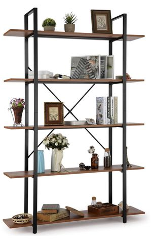 5 Tier Bookshelf, Open Vintage Industrial Style Bookshelves and Bookcase, Etagere Bookcase with Metal Frame for Home and Office Organizer for Sale in Rosemead, CA