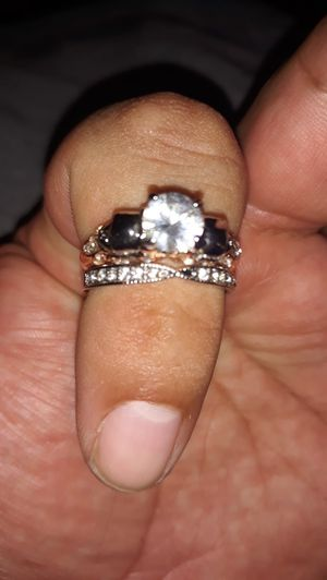 Ladies stainless steel size 9 wedding ring 2 piece set for Sale in Mesa, AZ