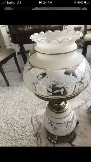 Antique Etched Hurricane Electric lamp for Sale in Las Vegas, NV
