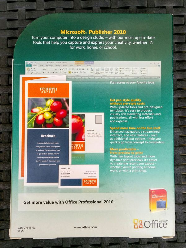 "Genuine Microsoft Publisher & Office ""Home and Student"" 2010"