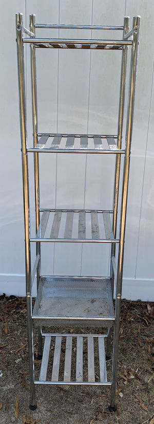 CHROME METAL 4 TIER SHELF & 1 DRAWER ORGANIZER STORAGE PLANT STAND for Sale in Chapel Hill, NC