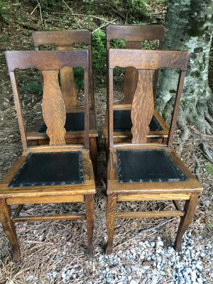 Set of 4 antique chairs w black leather bottoms for Sale in Villa Rica, GA
