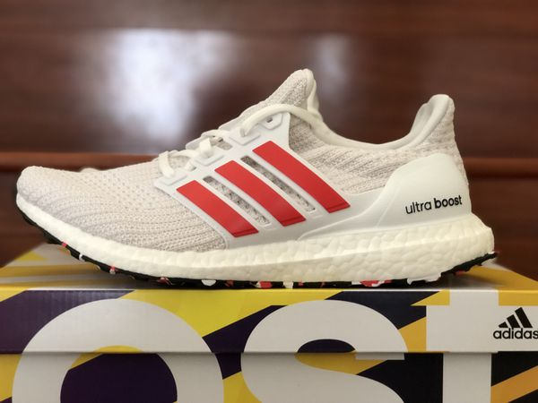 51b48f09f55 Adidas Ultraboost 4.0 DB3199 Chalk White Active Red Stripe Men s ...