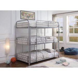 SILVER FINISH METAL TWIN SIZE TRIPLE DECK BUNK BED / LITERA SENCILLA CAMAS for Sale in Riverside, CA