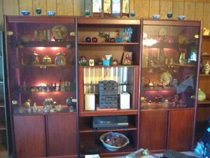 Three piece wall unit with glass doors glass shelves and lighting for Sale in Jan Phyl Village, FL