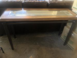 Beautiful glass wood iron table co some behind couch for Sale in Scottsdale, AZ