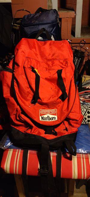 90s Vintage Marlboro Adventure Team Backpack Knapsack Outdoors Camping Hiking Bag, Marlboro Cigarettes, Smoking Advertisement, Branding for Sale in Bristol, PA