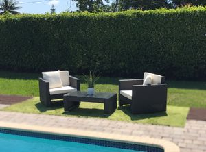 Modern Designer Patio Furniture - Brown PE Wicker Rattan Chairs and Coffee Table for Sale in Miami, FL
