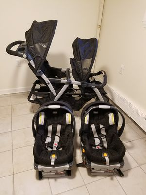 Black chicco double stroller with car seats for Sale for sale  Perth Amboy, NJ