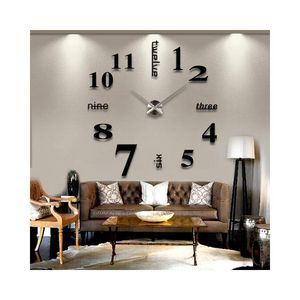 Large 3D wall clock modern style for bedroom living room kitchen word number wall decoration art time for Sale in Colorado Springs, CO