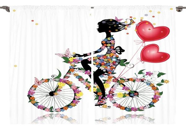 """Kids Curtains 108""""W x 84""""L Floral Girl Spring Bicycle Print Backdrop 13045"""