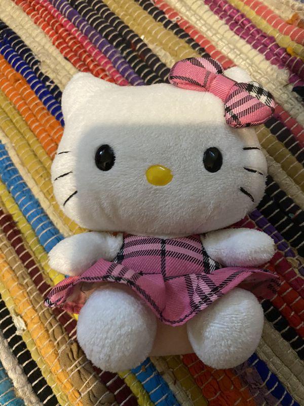 TY Beanie Babies Hello Kitty Dress Plaid PINK Plush