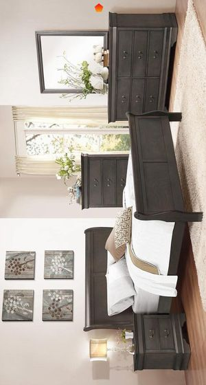 Anaco stained Grey bedroom set 🍃 Queen Sleigh Bed dresser mirror Nightstand Recamara for Sale in Mesquite, TX