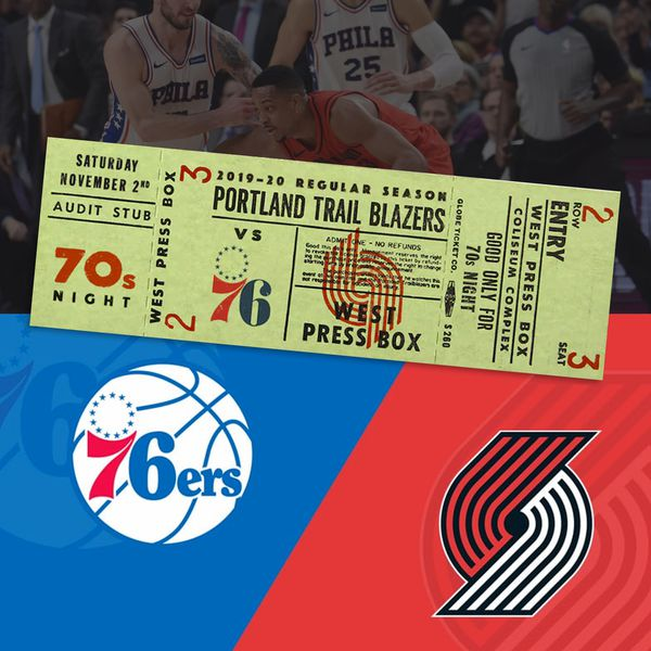 2 tickets to Blazers to 76ers Nov. 2nd (70s night). Section 325 row J
