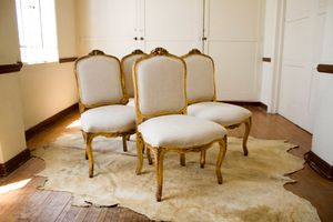4 antique French gold trimmed dining chairs for Sale in Los Angeles, CA