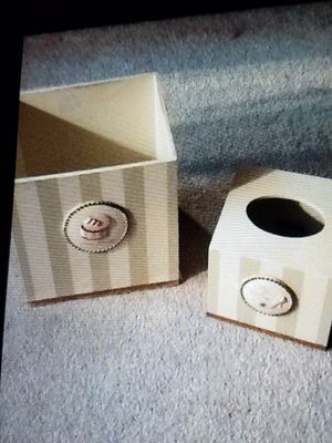 Wood waste basket Kleenex box cover for Sale in West Palm Beach, FL