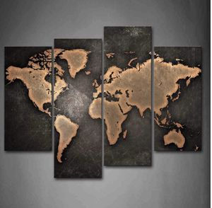 World Map Black Background Wall Art Painting Picture Mural Canvas Modern Home Living Room Decor Gift for Sale in Toledo, OH