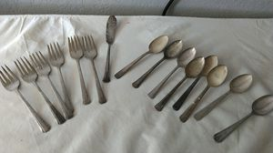 Wm Rogers and Wallace Sterling circa 1881 six forks 8 spoons and 1 butter knife Bandbury Brookwood line for Sale in Rancho Cucamonga, CA