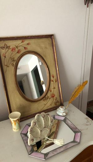 Antique Mirror plus Vanity Mirror Picture frame glass and inkwell for Sale in Westland, MI