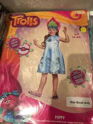 Trolls Poppy Halloween Child Girl's Kids Costume Small 4-6 and Medium 7-8 for Sale in Torrance, CA