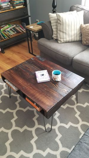 Coffee table with raw steel hairpin legs. for Sale in Poway, CA