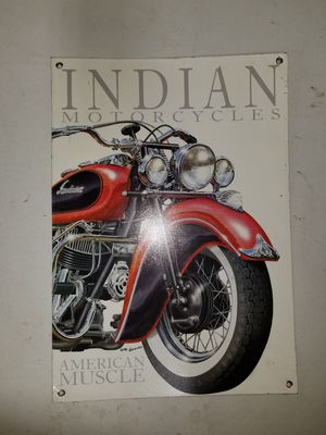 Indian Motorcycle Metal Sign for Sale in McHenry, IL