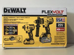 DEWALT 20v XR FLEX VOLT COMBO KIT HAMMER DRILL,IMPACT DRIVE 1-2.0AH 1-6.0AH BATTERIES AND FAST CHARGER for Sale in San Bernardino, CA