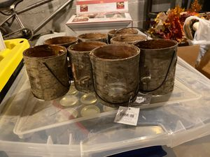 Tea light candle holders, leaves cut into fake bark for Sale in Parma Heights, OH