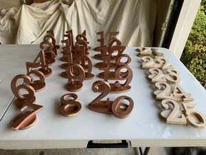 Wood table numbers for Sale in Kirkland, WA