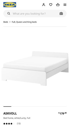 IKEA Askvoll Queen White Bed Frame for Sale in Pittsburgh, PA