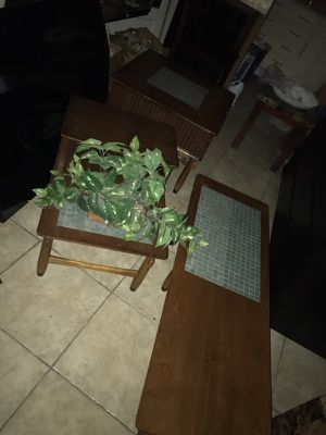 3 piece antique coffee table set with pretty ting ceramic tiles for Sale in Pennsauken Township, NJ