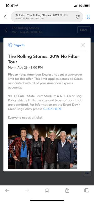 Rolling Stones Concert Tickets for Sale in Paradise Valley, AZ