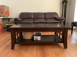 Leather sofa recliner with end table and coffee table for Sale in North Riverside, IL