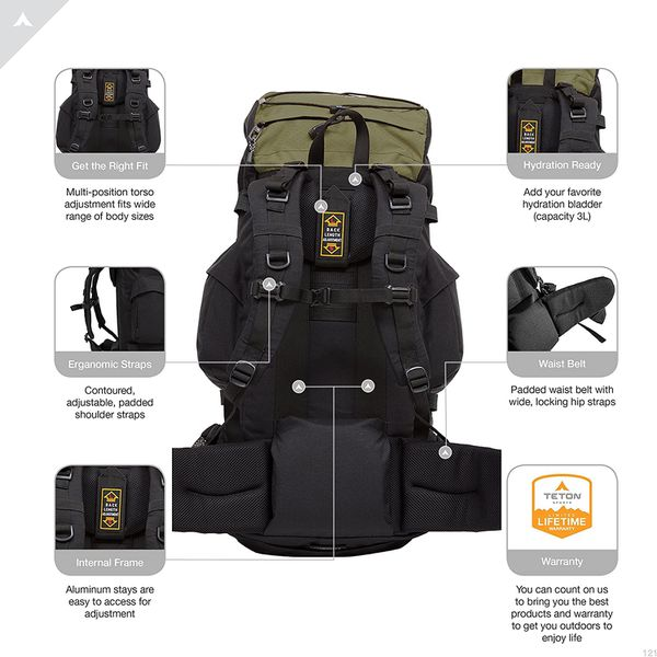 Teton Sports Hiking Backpacking Camping Backpack 55 Liters