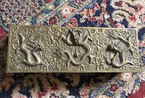 Antique Chinese Bronze High Relief Dragons Box for Sale in Moon, PA