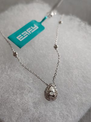 NWT Effy Pavé Classica 14K White Gold .38tcw Diamond Pear Shape Pendant Necklace for Sale in Centreville, VA
