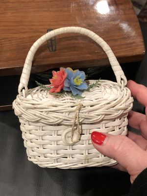 Doll sized wicker Easter outfit basket purse for Sale in Coraopolis, PA