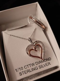 Diamond Rose Tone Over Sterling Silver Ring And Necklace for Sale in Stockton,  CA