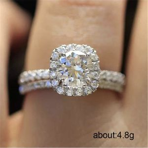 925 sterling silver filled white sapphire ring band wedding engagement ring band set for Sale in Silver Spring, MD