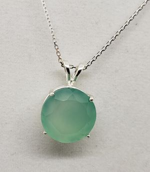 Natural Round 16mm Blue Chalcedony Silver Necklace for Sale in Justin, TX