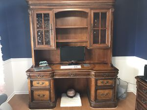 Wood Desk with lighted hutch for Sale in Plainfield, IL