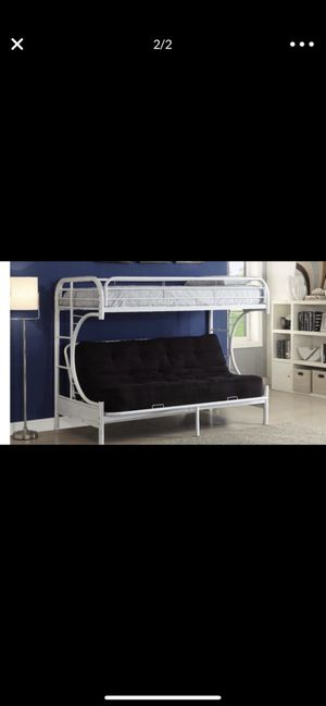 White futon bed(full over twin) . No mattresses and no screws. for Sale in Orosi, CA